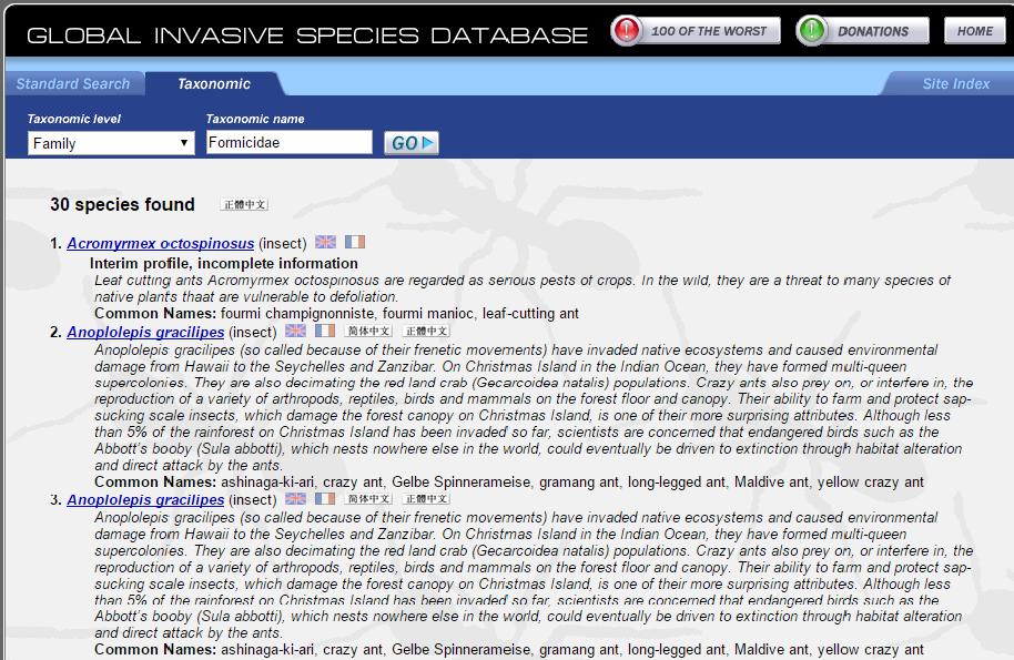 Ergebnis der Abfrage bei der global invasive species database