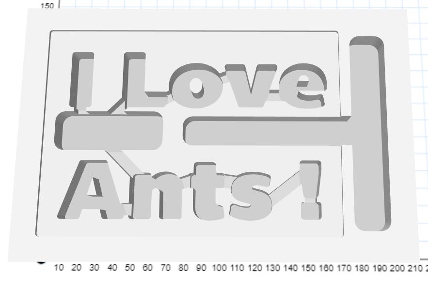 "Ytong-Nest, dessen Kammern/Gänge den Satz ""I Love Ants!"" darstellen."