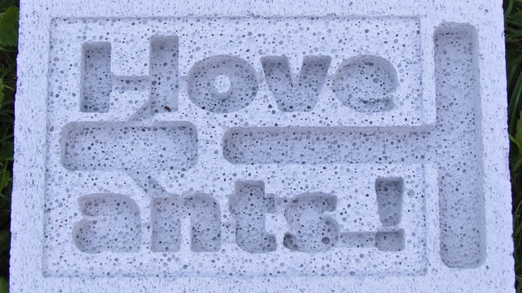 "Alter Entwurf des ""I love ants!"" Porenbeton Nestes."